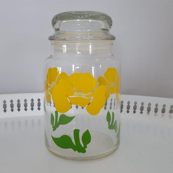 förvaringsburk-glasburk-retro-gul-blomdekor-1