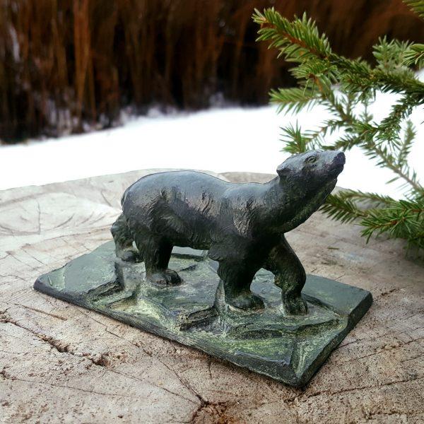 skulptur-brevpress-isbjörn-gjutjärn-art-deco-1